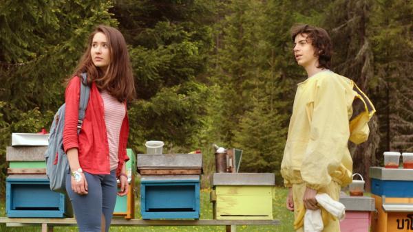 Auf einer Alm trifft Mia (Margot Nuccetelli) auf Fabio (Tommaso Maria Neri), der sich gerade um seine Bienenstöcke kümmert. | Rechte: ZDF/2017 Hahn & m4e Productions