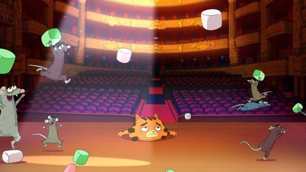 Die Ballett-Ratten tanzen Jean Cat auf der Nase herum. | Rechte: WDR/Cyber Group Studios/KD Productions Toons&Games/Televisió de Catalunya