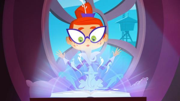 Mit Miss Moon ist auch ihr Zauberbuch bei den McGuffles eingezogen. | Rechte: KiKA/Safari de Ville/TF1/PGS Entertainment