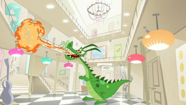 Lerne den kleinen Drachen von Miss Moon kennen. | Rechte: KiKA/Safari de Ville/TF1/PGS Entertainment