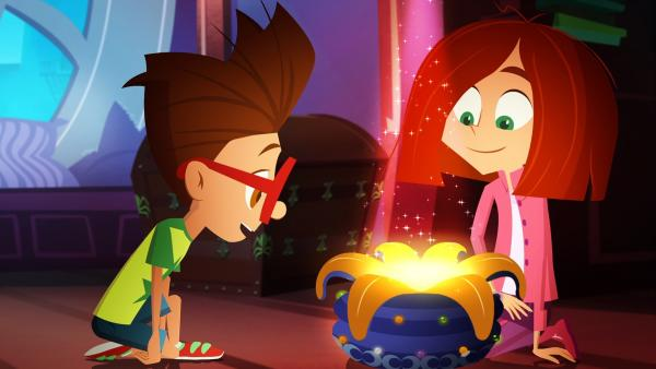 Luke und Lola hoffen, in Miss Moons Zauberbeutel magische Hilfe zu finden.   Rechte: KiKA/Safari de Ville/TF1/PGS Entertainment