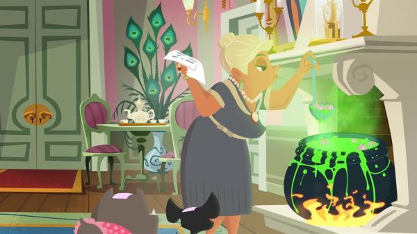Die Baronin kocht einen Trank, um Drachen anzulocken. | Rechte: KiKA/Safari de Ville/TF1/PGS Entertainment