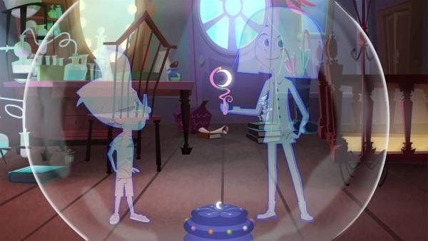 Luke und Lola haben sich mit Miss Moons Verschwindeblase unsichtbar gemacht.   Rechte: KiKA/Safari de Ville/TF1/PGS Entertainment