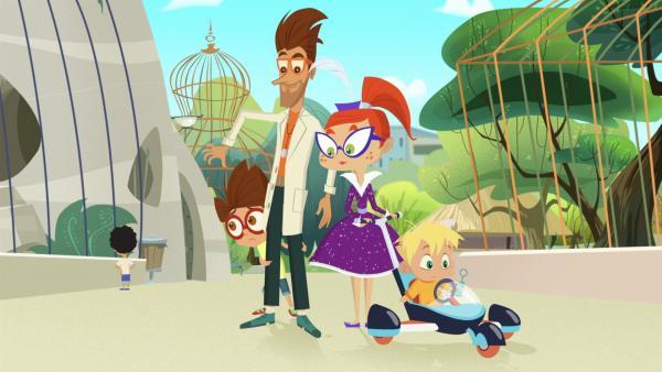 Paul zeigt Miss Moon, Luke und Baby Joe die neuste Attraktion im Zoo.   Rechte: KiKA/Safari de Ville/TF1/PGS Entertainment