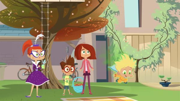 Miss Moon, Luke und Lola staunen über Baby Joes Superkräfte.   Rechte: KiKA/Safari de Ville/TF1/PGS Entertainment