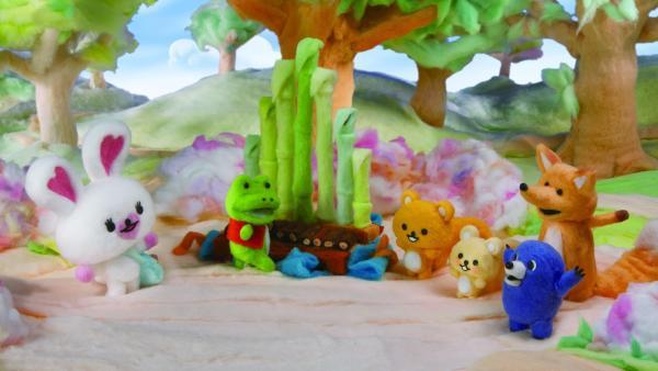 Mofy (l.) und ihre Freunde lieben es wenn Harry, der Frosch (2.v.l.) Musik macht. | Rechte: ZDF/SCP/AA/RAI