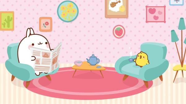 Molang mit Piu Piu im Wohnzimmer | Rechte: hr/Millimages