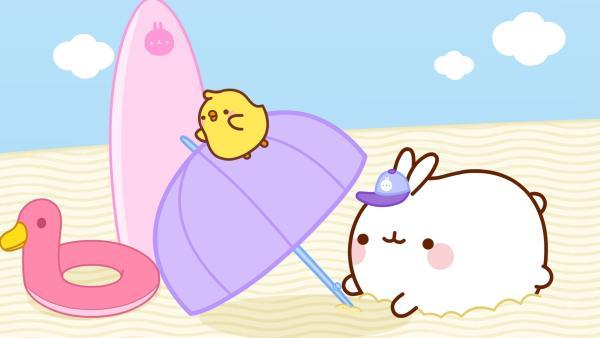 Molang und Piu Piu machen Urlaub am Strand. | Rechte: hr/Millimages
