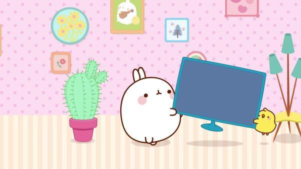 Molang und Piu Piu versuchen den Fernseher anzuschließen. | Rechte: hr/Millimages