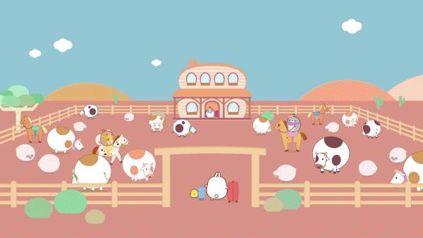 Molang und Piu Piu treffen ihre Freunde auf einer Ranch. | Rechte: hr/Millimages