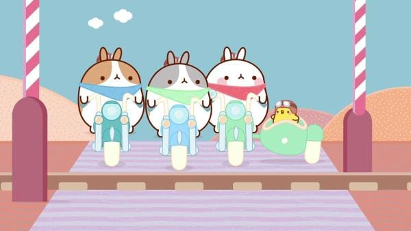 Molang und Piu Piu machen mit ihren Freunden eine Motorradtour. | Rechte: hr/Millimages
