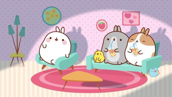 Zusammen mit ihren Freunden schauen Molang und Piu Piu Monster-Filme. | Rechte: hr/Millimages