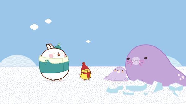 Molang und Piu Piu finden im Eis ein Robbenbaby. | Rechte: hr/Millimages
