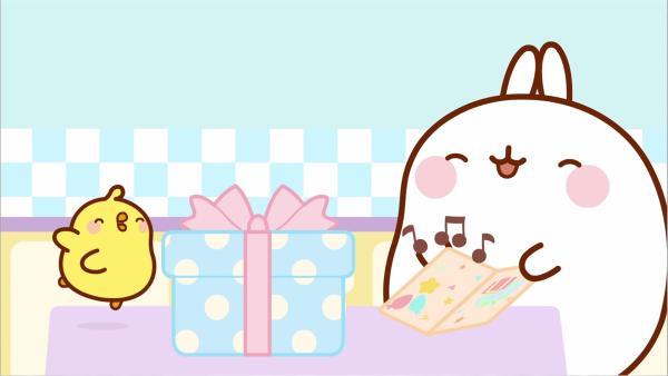 Molang und Piu Piu haben ein Geburtstagsgeschenk für einen ihrer Freunde. | Rechte: hr/Millimages