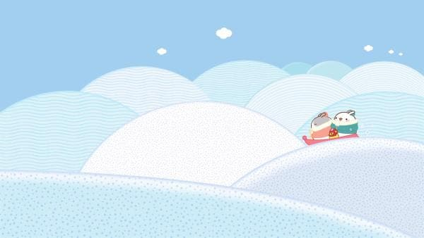 Molang und Piu Piu haben großen Spaß beim Schlittenfahren. | Rechte: hr/Millimages