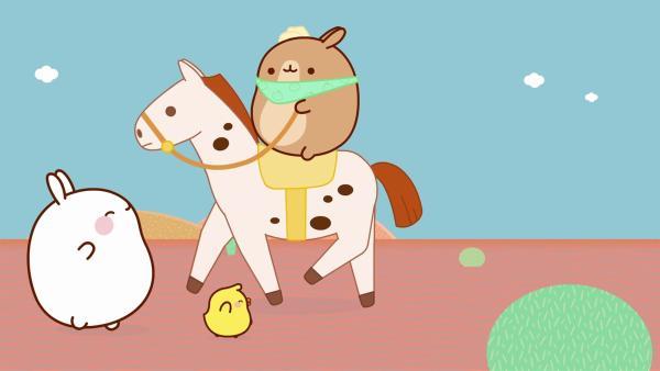Molang und Piu Piu gehen begeistert zu einem Rodeo. | Rechte: hr/Millimages