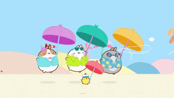 Molang und Piu Piu wollen am Strand Volleyball spielen. | Rechte: hr/Millimages
