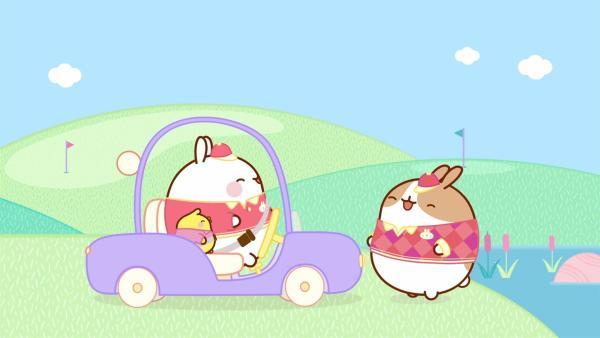 Molang und Piu Piu wollen unbedingt einen Golfwagen fahren. | Rechte: hr/Millimages