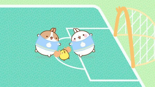 Molang und Piu Piu spielen Fußball. | Rechte: hr/Millimages