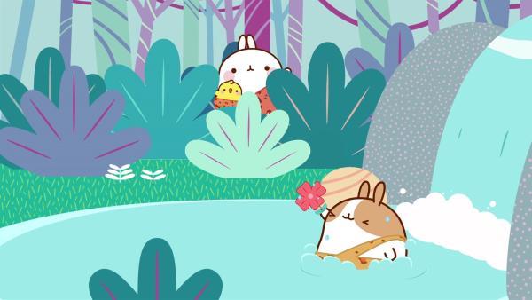 Molang und Piu Piu finden im Dschungel einen neuen Freund. | Rechte: hr/Millimages