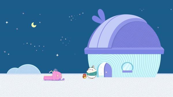 Auf einer Eisscholle treffen Molang und Piu Piu einen einsamen Forscher. | Rechte: hr/Millimages