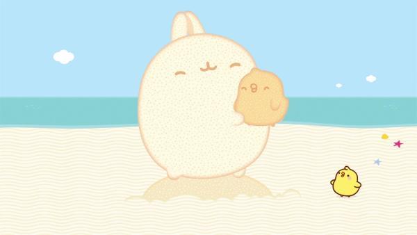 Molang und Piu Piu sind am Strand und bauen Skuklpturen. | Rechte: hr/Millimages