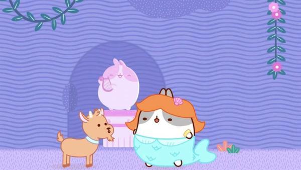 Die kleine Ziege büxt aus und führt Molang und Piu Piu  in einen Irrgarten.   Rechte: hr/Millimages