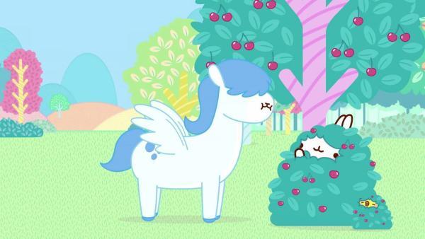 Molang und Piu Piu bringen ihren Freunden Post. Aber die Wege sind lang. Es sei denn, man trifft ein ganz bestimmtes legendäres Pferd. | Rechte: hr/Millimages