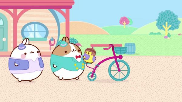 Im Wilden Westen reiten alle auf Pferden. Nur Piu Piu ist zu klein. Als er einen Fahrradverkäufer trifft, ergreift er seine Chance. | Rechte: hr/Millimages