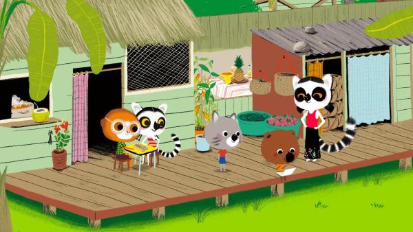 Mouk und Chavapa sind bei ihrer Freundin Anosy und ihrer Familie in Madagaskar zu Gast. | Rechte: KiKA/ Millimages