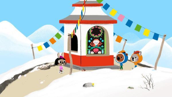 Auf dem Weg zu Onkel Dawa liegt ein wunderschöner, tibetanischer Tempel. | Rechte: KiKA/ Millimages