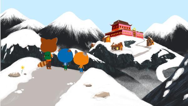 Hurra! Fast haben es die beiden Freunde bis zum Kloster geschafft. Ein toller Anblick, doch Chavapa hofft weiterhin, noch den Yeti zu sehen... | Rechte: KiKA/ Millimages