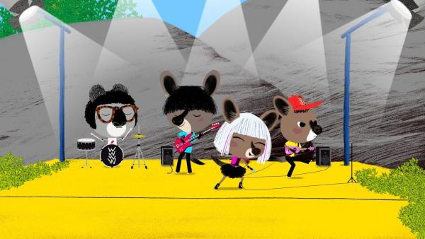 "Die berühmte Band ""Wallabies"" gibt ein Konzert mitten im Outback. | Rechte: KiKA/ Millimages"