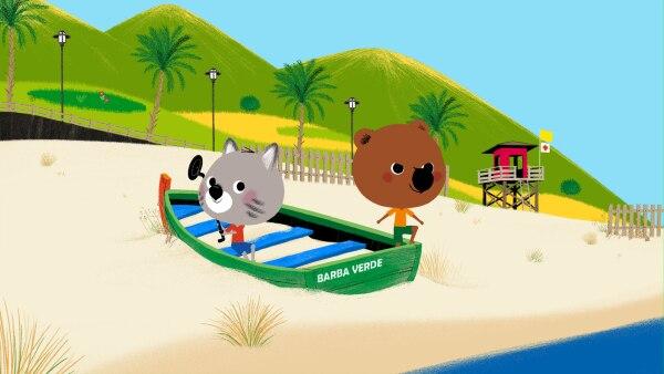 Die beiden Freunde wollen ihre Suche nach den Zutaten sogar mit Hilfe eines Bootes fortsetzen.  | Rechte: KiKA/ Millimages