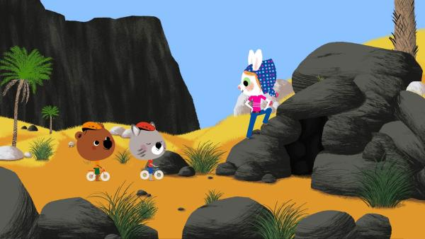 Mouk und Chavapa erkunden die Gegend der Tassili, eine Gebirgskette in der Sahara. Dabei begegnen sie Dalila und ihren Eltern, die Archäologen sind. Dann machen sie eine ganz besondere Entdeckung: Eine unterirdische Höhle mit seltenen Felsmalereien. | Rechte: KiKA/Millimages