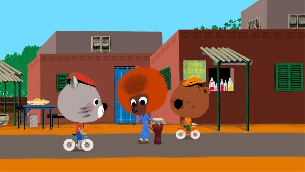 Mouk und Chavapa sind im Senegal. Dort lernen sie den afrikanischen Jungen Bouba kennen. | Rechte: KiKA/Millimages