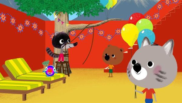 In Mexiko treffen Mouk und Chavapa Rio, der sie zur Geburtstagsfeier seiner Schwester Maya einlädt. | Rechte: KiKA/Millimages
