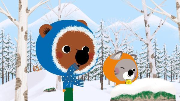 Mouk und Chavapa sind im winterlichen Kanada unterwegs. | Rechte: KiKA/Millimages