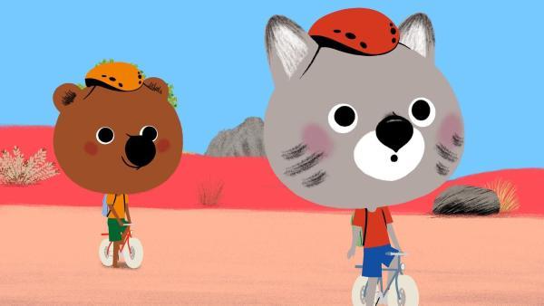Mouk und Chavapa sind in Australien und wollen sich den Sternenhimmel von einem Observatorium aus ansehen. Doch der Weg dahin führt durch das Outback und die beiden verfahren sich. | Rechte: KiKA/Millimages