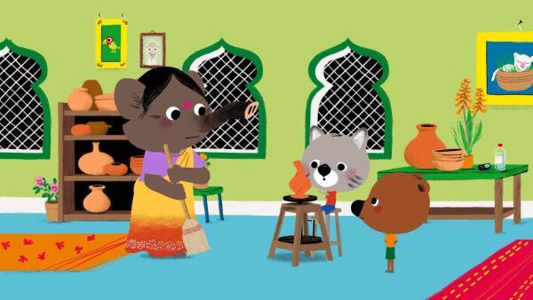 In ihrer Töpferei hilft Tanisha Mouk und Chavapa dabei, eine ganz und gar einzigartige Vase zu töpfern. | Rechte: KiKA/Millimages