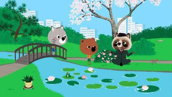 Mouk und Chavapa sind in Tokio. In einem Park gehen die beiden auf Schatzsuche. Ein schwieriger Hinweis folgt dem nächsten. | Rechte: KiKA/Millimages