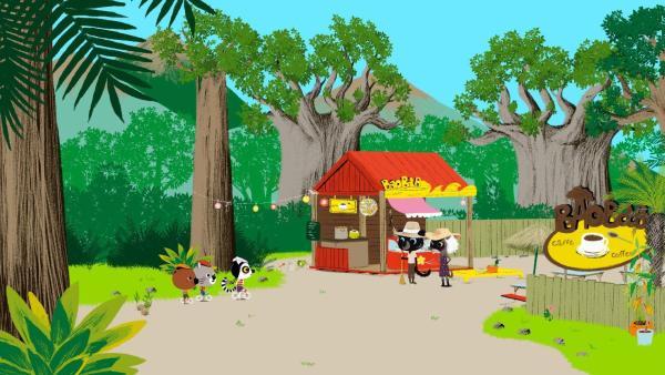 In Madagaskar treffen sich Mouk und Chavapa mit ihrer Freundin Anosy. Sie zeigt ihnen das Café, das ihr Onkel und ihre Tante heute mit einer großen Feierlichkeit, eröffnen wollen. | Rechte: KiKA/Millimages