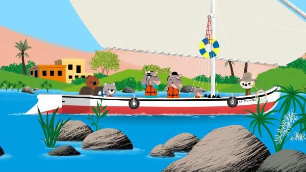 Mouk und Chavapa sind in Ägypten. Zur Erholung haben sie sich zu einer Sightseeing-Bootstour zu den antiken Tempeln angemeldet. | Rechte: KiKA/Millimages