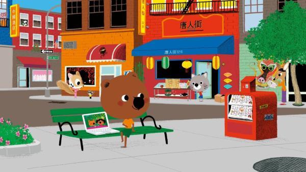 Mouk und Chavapa sind in New York. Sie wollen auf Serissas Geburtstagsparty gehen. In Chinatown durchstöbern sie die Läden nach einem passenden Geschenk. | Rechte: KiKA/Millimages