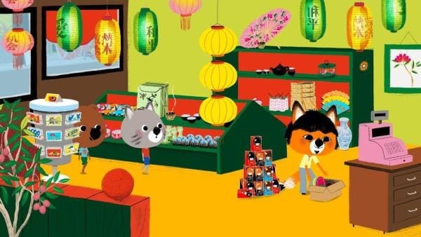 Mouk und Chavapa sind in New York. Sie wollen auf Serissas Geburtstagsparty gehen. In Chinatown durchstöbern sie die Läden nach einem passenden Geschenk.   Rechte: KiKA/Millimages