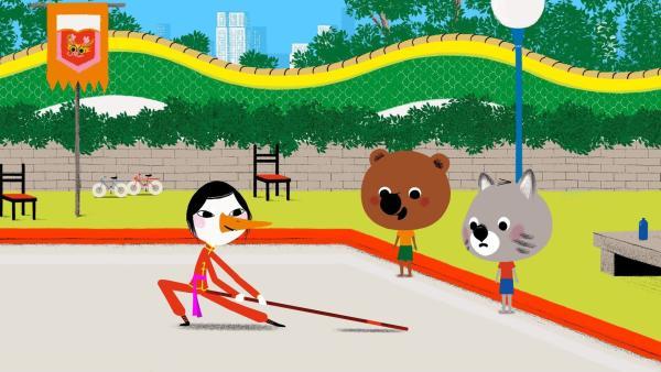 Mouk und Chavapa beobachten einen Kung Fu-Darsteller bei seinen Proben. | Rechte: KiKA/Millimages