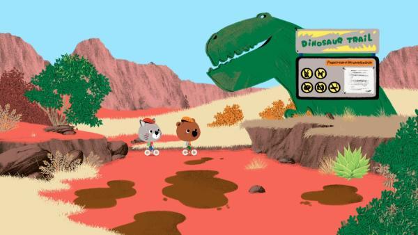 Mouk und Chavapa besuchen ihren Freund Tuscon in Utah. Dessen Mutter Sedona macht dort Abgüsse von Dinosaurier-Fußabdrücken. | Rechte: KiKA/Millimages