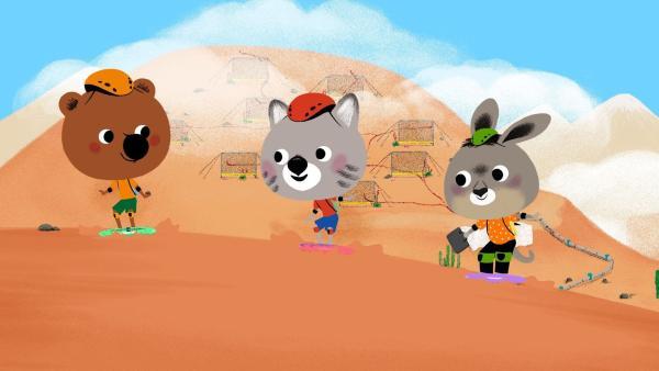 Mouk und Chavapa sind in Chile. Mit ihrem Freund Pepito gehen sie in der Atacama-Wüste Sandsurfen. | Rechte: KiKA/Millimages