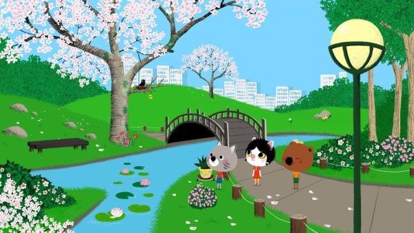 In Tokio treffen sich Mouk und Chavapa mit ihrer Freundin Miko zum Hanamifest in einem Park. Das Hanamifest ist auch als Kirschblütenfest bekannt.   Rechte: KiKA/Millimages