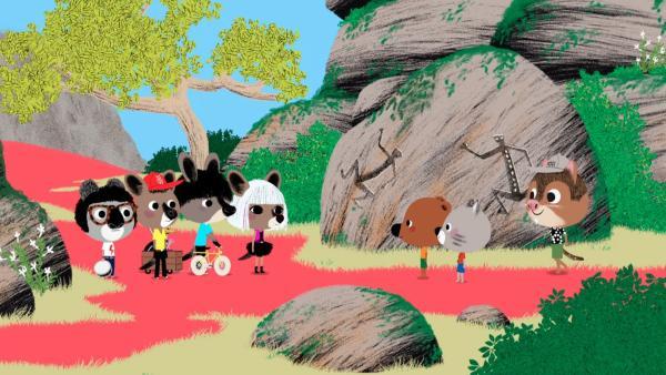 In Australien wollen Mouk und Chavapa Ernest dem Förster bei der Säuberung der Felsbilder behilflich sein. Zu ihrer Überraschung treffen sie unterwegs die Popband Wallabies. | Rechte: KiKA/Millimages